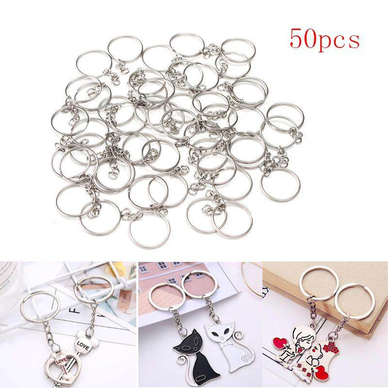 6ed2089d5191 50pcs 25mm Polished Silver Keyring Keychain Split Ring Short Chain Sturdy  and durable Car Key Rings For DIY Making Jewelry Accessories