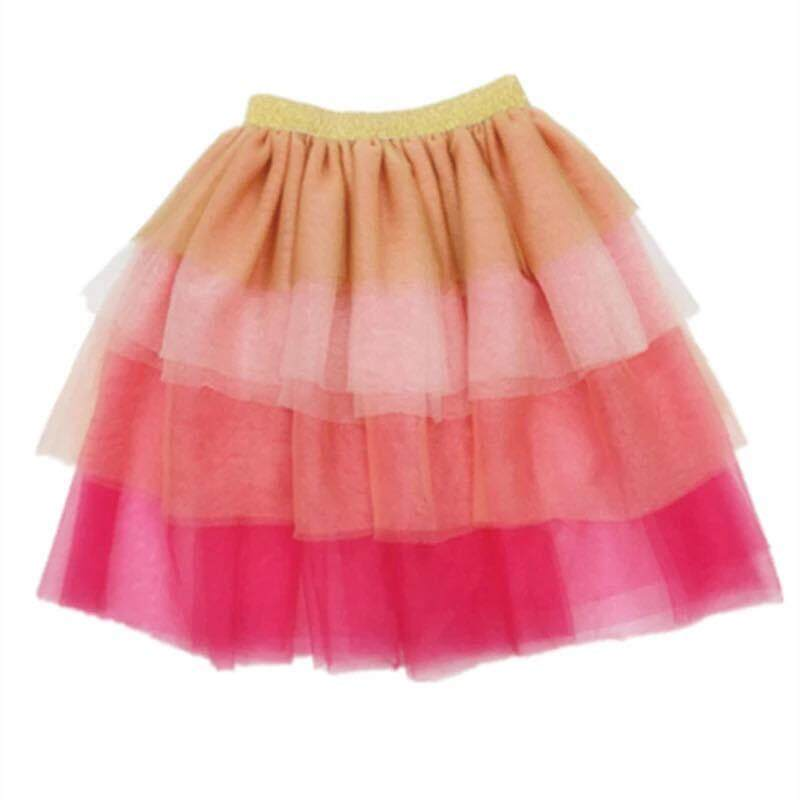 (2-6yrs Old)toddler Kids Girl Layered Over-Knee Rainbow Skirt By Hermom Collection.