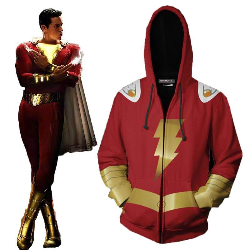 2019 Movie Shazam Billy Batson Costume Zip Up Hoodie Jacket