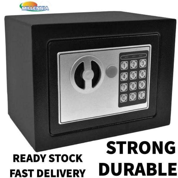 Durable Black Small Digital & Key Lock Home/Office Electronic Safe Box