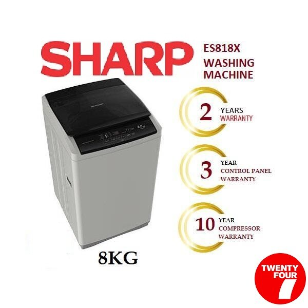 SHARP FULL AUTO TOP LOAD WASHER 8KG ES818X (Free Basic Installation in Ipoh Area)
