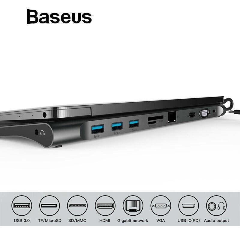 Baseus Multi All-in-1 USB C HUB to HDMI VGA USB 3.0 RJ45 3.5mm Audio Adapter for MacBook Pro Accessories USB Splitter Multi 11 Ports Type C HUB USB-C HUB