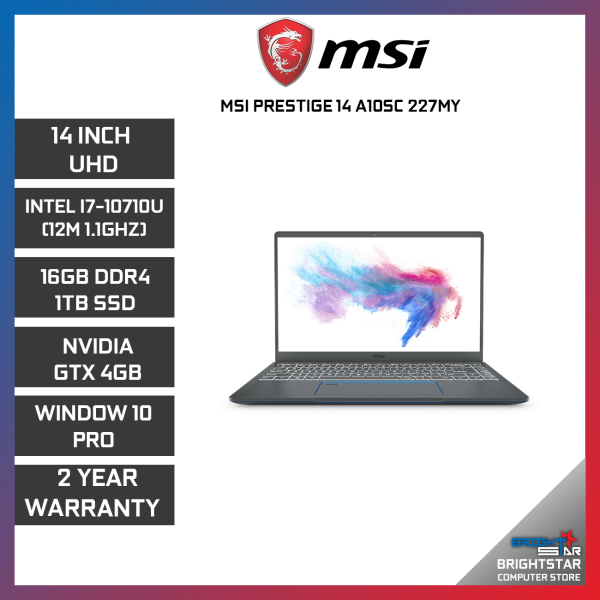 MSI PRESTIGE P14-A10SC-227MY GAMING LAPTOP 14 UHD / INTEL I7-10710U / 16GB / 1TB SSD / NVIDIA GTX1650 4GB / 2 YEARS WARRANTY Malaysia