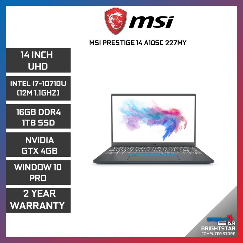 MSI PRESTIGE P14-A10SC-227MY GAMING LAPTOP 14 UHD / INTEL I7-10710U / 16GB / 1TB SSD / NVIDIA GTX1650 4GB / 2 YEARS WARRANTY Malaysia