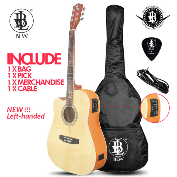 BLW 41 Inch Standard Dreadnought Semi Acoustic Electric 4 Equalizer Guitar for Beginners SD410EQ Comes with Bag, Cable, Pick and Merchandise Sticker Malaysia