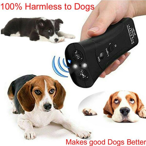Potey Pet Dog Repeller Chống Sủa Dừng Sủa Thiết Bị Đào Tạo LED Siêu Âm 3 Trong 1
