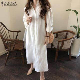 ZANZEA Đầm Sơ Mi Dài Thường Ngày Ngoại Cỡ Cánh Dơi Cho Nữ Mùa Hè Đầm Midi Xẻ RộngNgoại Cỡ thumbnail