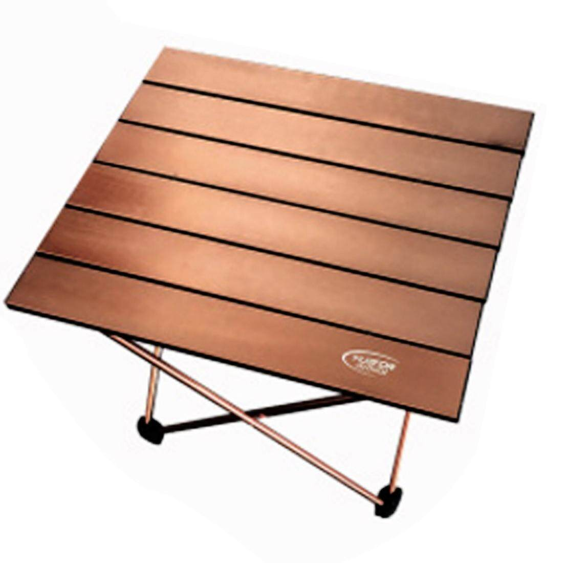 ตั้งแคมป์กลางแจ้งแบบพกพาพับตารางการบินอลูมิเนียมปิกนิกโต๊ะบาร์บีคิวขนาดเล็กขนาด: 39.5x34.5x32.5 ซม. (กาแฟ) By Puluz.