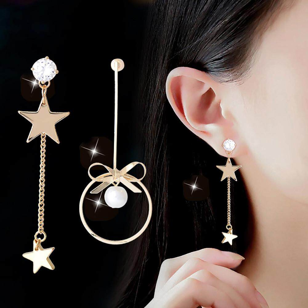 Vivimall Women Sterling Silver Five-Pointed Star Pearl Long Earrings Asymmetric Earrings By Vivimall.