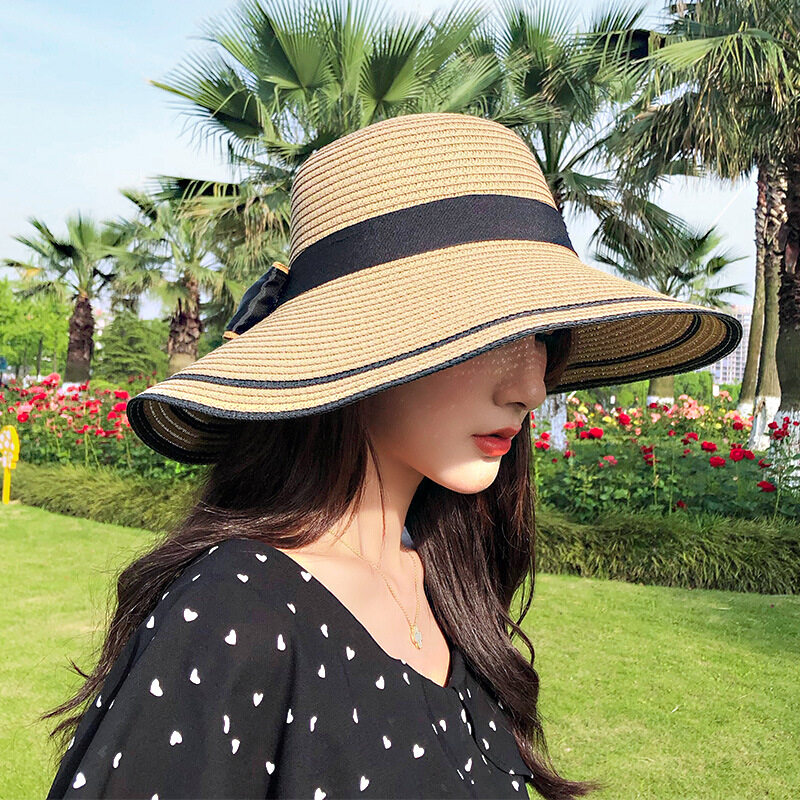 Travel Bow Straw Hat Outdoors On Vacation Sunscreen Will Eaves Sun Hat