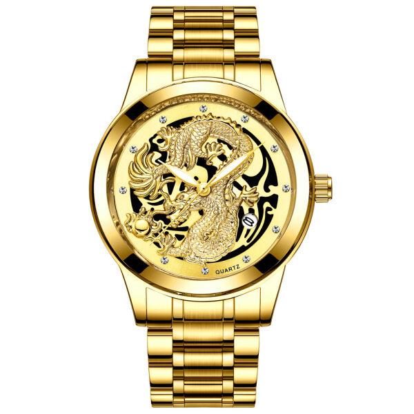 FNGEEN TTIME date DRAGON GOLD WATCH 3D STAINLESS STEEL WATERPROOF LUXURY WATCHES Malaysia