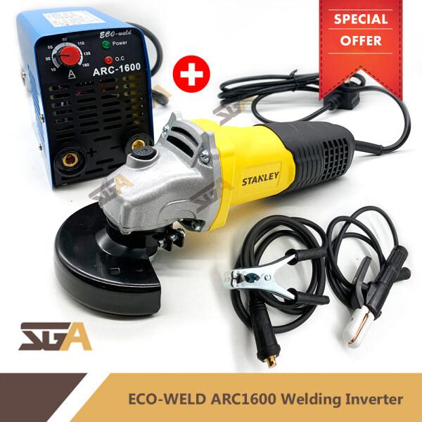 "Mesin Welding ARC1600 Welding Machine Inverter COMBO SET with STANLEY STGT5100 580W 4"" Angle Grinder"