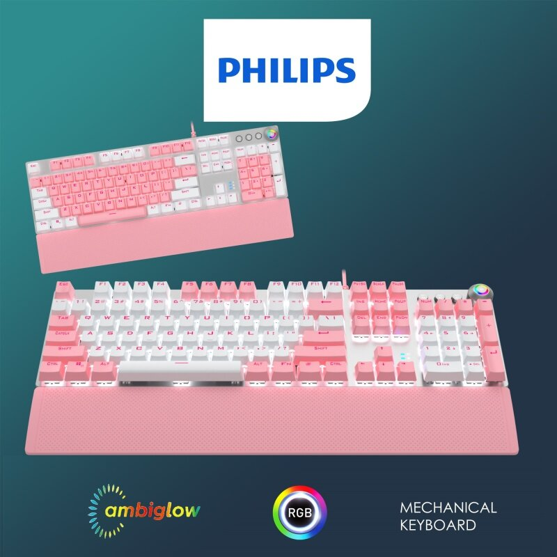 PHILIPS Momentum Special Edition Color Cap Mechanical Gaming Keyboard Series. 19s Ambiglow Chromatic FX Lighting Rainbow Backlit Wired Mechanical Gaming Keyboard C/w Magnetic Hand Rest & Dual-Mode Control Knob (Model- G614 / SPK8614) Malaysia