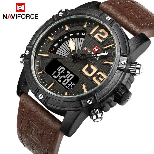 NAVIFORCE watch for man Dual Movt Men Watch Luminous Calendar LCD Light Wristwatches 3ATM Wristwatch HOT sale fashion jam tangan lelaki 9095 Malaysia