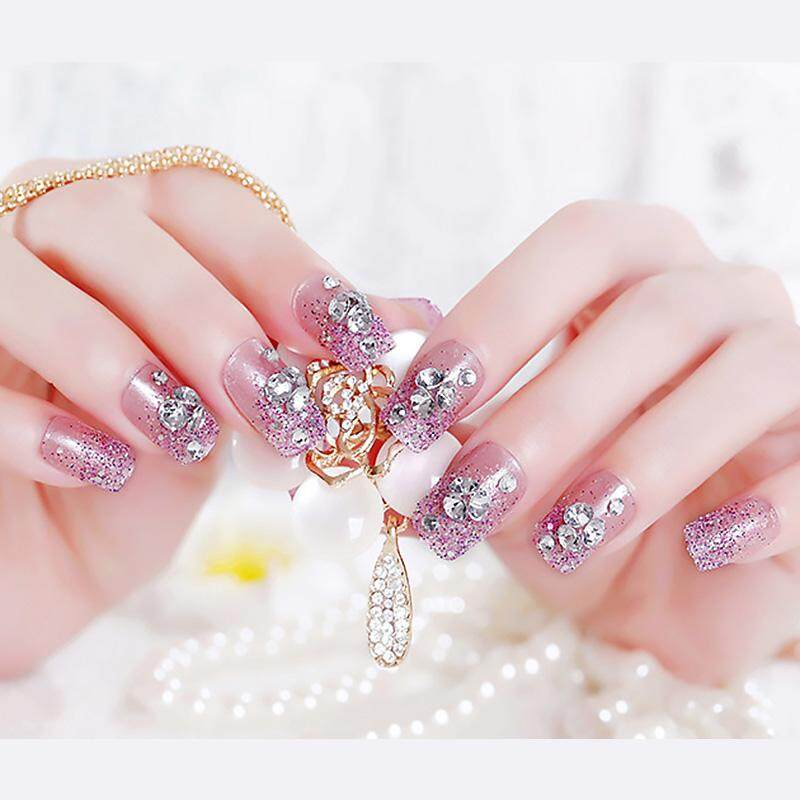 Clear Light Purple Glitter False Nails Tips French Style Flower Patterns Artificial Nail