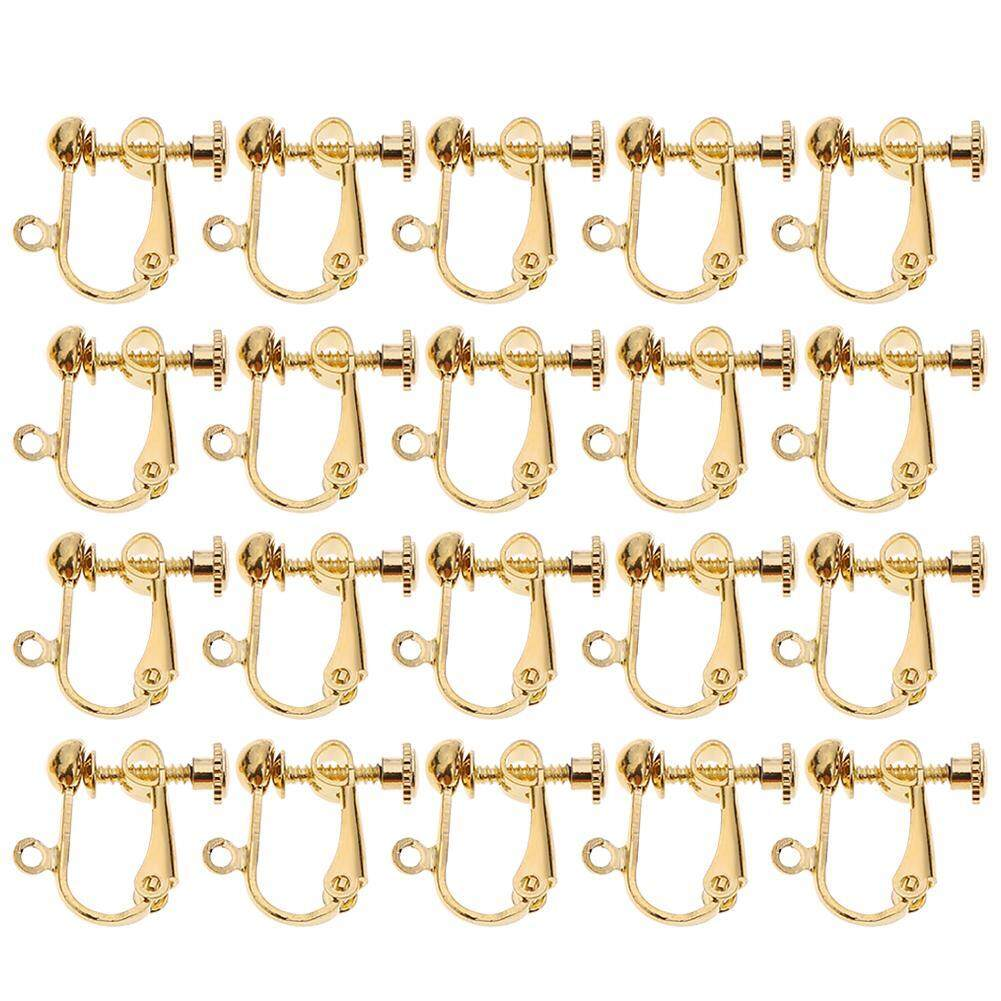 〔questionno〕20pcs/set Brass Clip-on Earring Clip Hooks Components for Non-pierced Ears