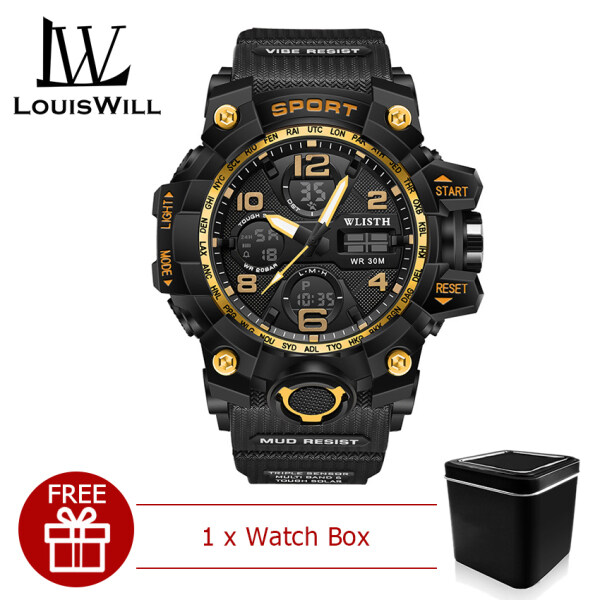 LouisWill Men Sports Watch Military Wristwatches 30M Waterproof Watches  Digital Sport Wristwatch Dual Display Stopwatch Dial Calendar Luminous Pointer Wrist Watches with Watch Box for Men Malaysia