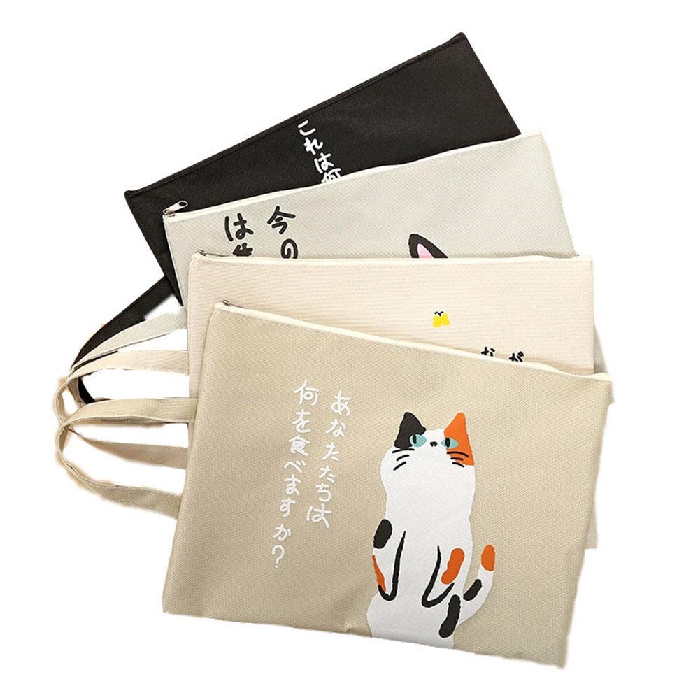 Mua Icuki Boutique Đồ Văn Phòng Cat Canvas A4 Tập Tin Túi Túi Bảo Quản