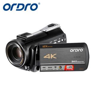 Camera Video HDR-AC5 ORDRO, Máy Quay Phát Trực Tiếp 4K Máy Quay Video Zoom Quang Học 12X, Máy Quay Phát Sóng Trực Tiếp Màn Hình Cảm Ứng IPS 3.1 Inch & Ghi Âm Thời Gian Trôi Đi & Wifi thumbnail