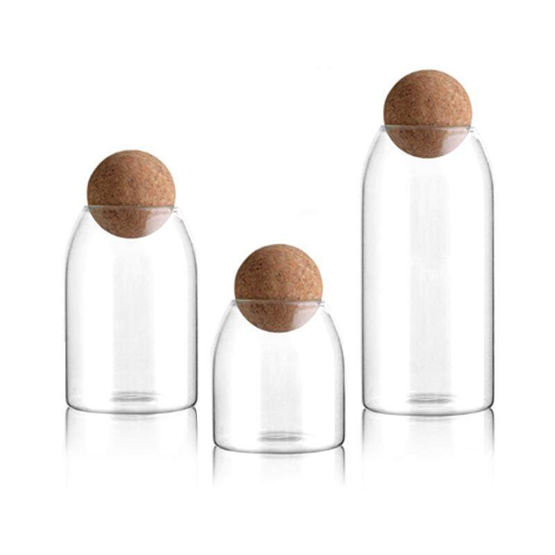 3Pcs Multifunctional Sealed Can Kitchen Storage Bottles Glass Tea Candy Jars with Cork Lid Food Grains Coffee Bean Container Jar Organizer Cans