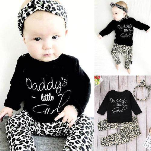 edff249f7590 Canis Newborn Baby Girls Winter Outfit Clothes Tops+Leopard print Pants  3Pcs Set