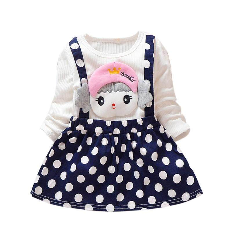 2 Piece Toddler Cartoon Dot Pattern Long Sleeve Cotton Dresses By Ropalia Store.