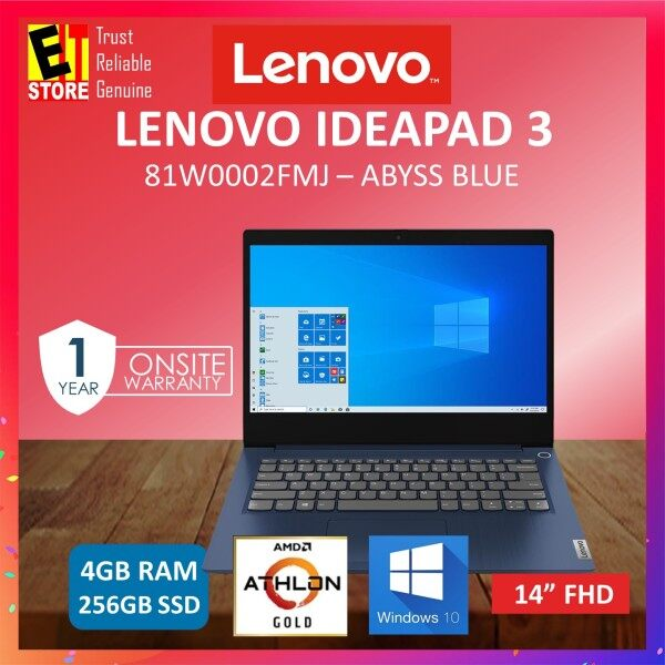 LENOVO IDEAPAD 3 14ADA05 81W0002GMJ / 81W0002FMJ LAPTOP -PLATINUM GREY (AMD ATHLON GOLD 3150U/4GB/256GB SSD/14.0 HD/W10/1YR) Malaysia