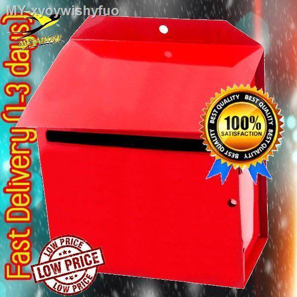 Metallogy Metal Red Post Letter Box  Metal Mail Box  Peti Surat Besi  Mailbox  Letterbox