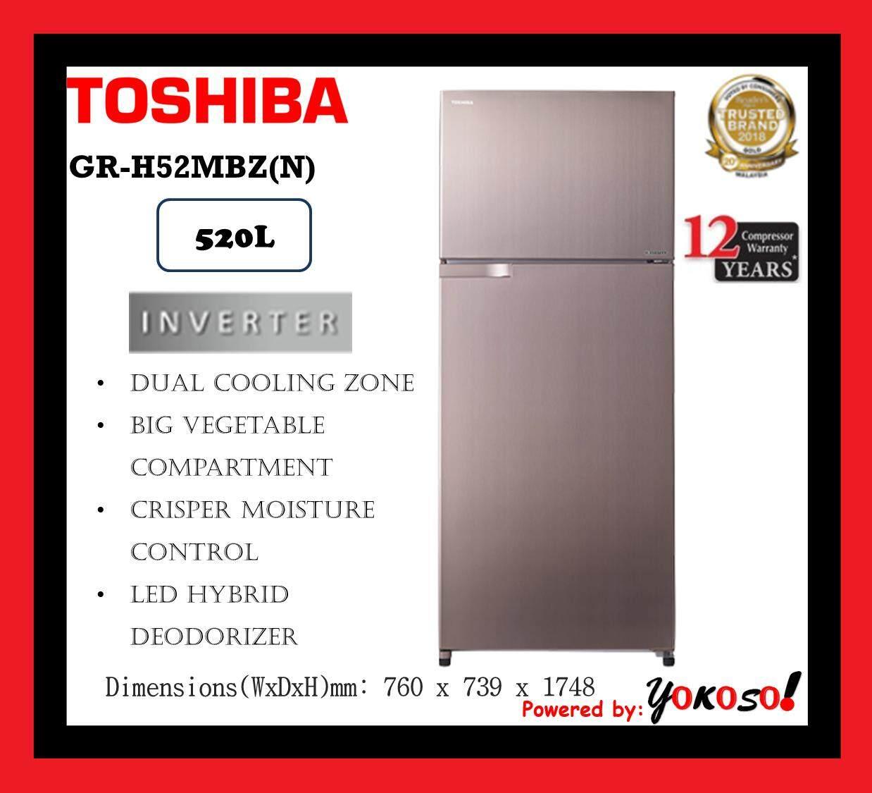 Toshiba GR-H52MBZ(N) 520L 2 Doors Inverter Fridge Refrigerator - Hybrid Bio Deodorizer
