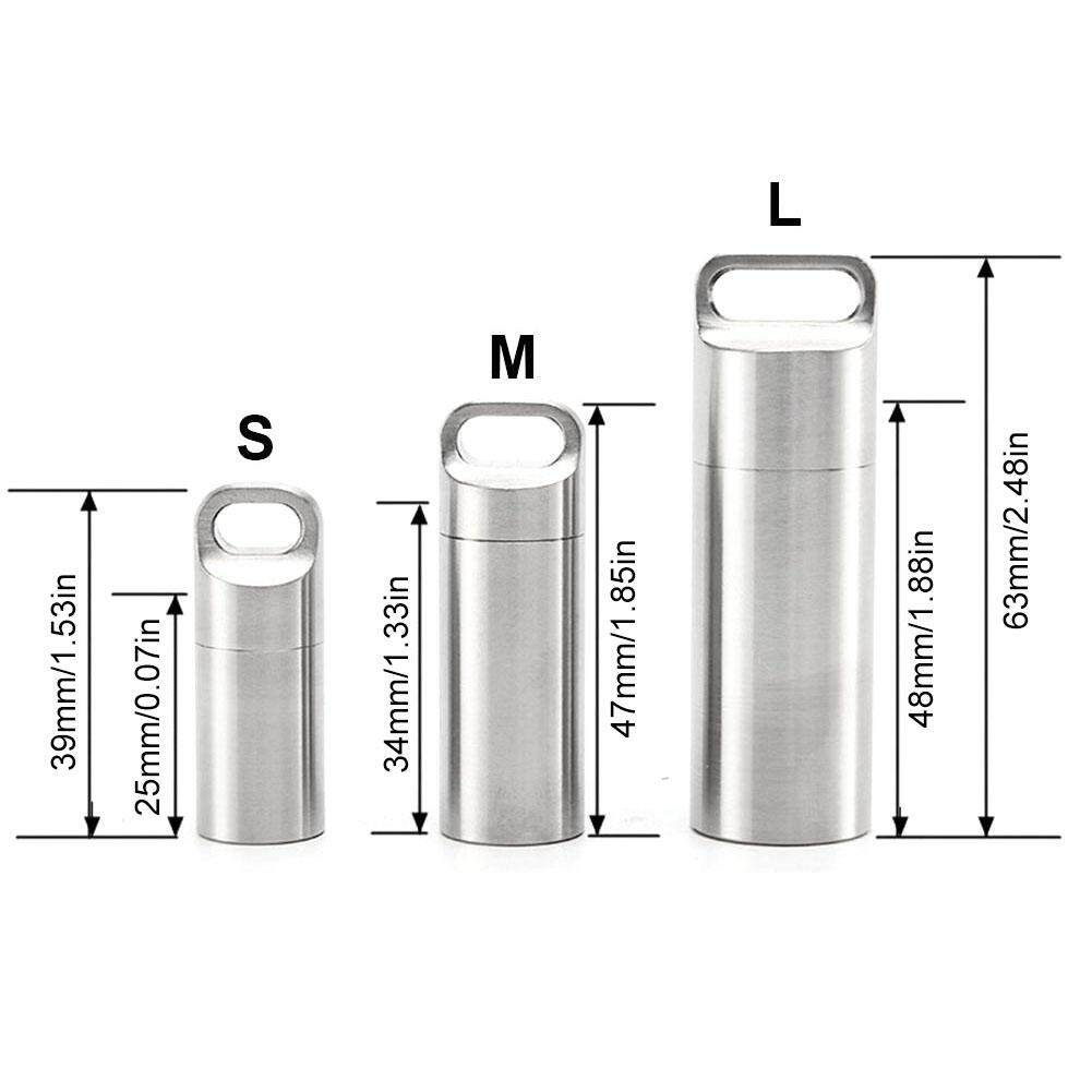 Stainless Steel Waterproof Container Box Pill Case Seal Bottle Storage L