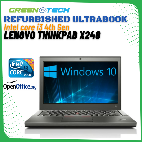 Refurbished Lenovo Thinkpad X240 Ultrabook (i3 i7 4th Gen 2.1Ghz up to 3.30Ghz / 4GB RAM / 320GB HDD / 500GB HDD / Win7 COA / Win 10 Pro / Bag) (3 Month Warranty for Laptop & 1 Month Warranty for Battery and Adaptor) Used Laptop Notebook Malaysia