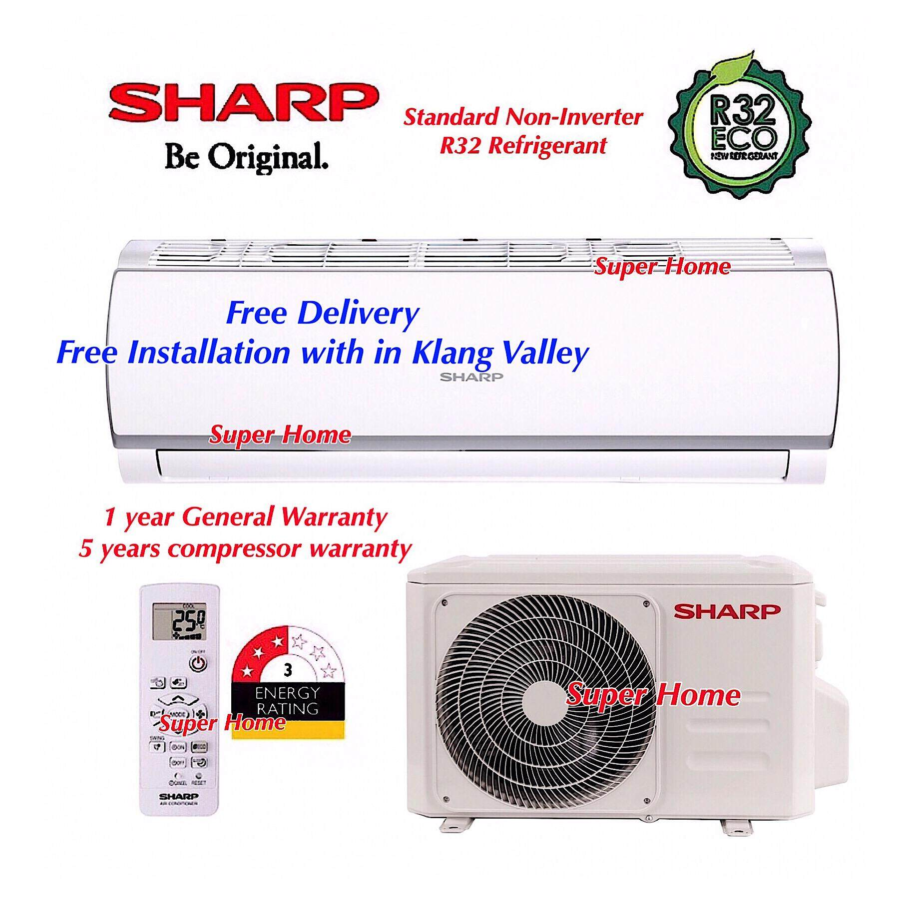 Sharp R32 1.5hp eco Non-Inverter Split Air-Conditioner AHA12WCD & AUA12WCD - R32 + Free Delivery + Free Installation Services (Only with in Klang Valley)