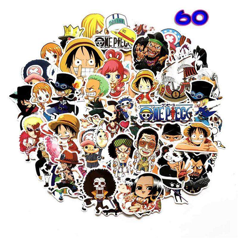 Kuhong 60pcs Anime One Piece Luffy Stickers Pvc Car Backpack Pad Waterproof Decal By Kuhong.