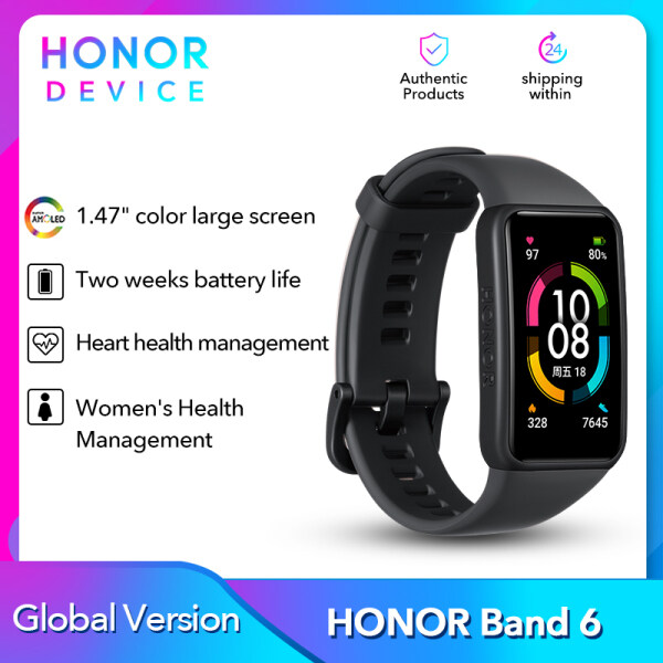 【New Arrival】Original Honor Band 6 Bracelet Smart Band Watch CN Version Heart Rate Monitor Blood Oxygen Touch Screen Amoled Waterproof