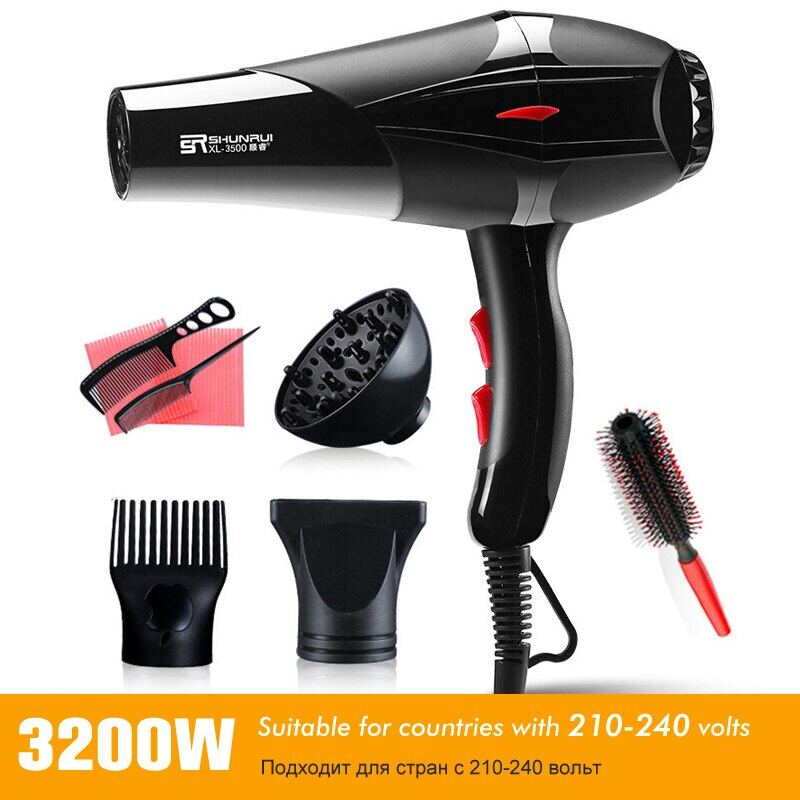 Professional Strong Power Hair Dryer For Hairdressing Barber Salon Tool Blow Dryer 220-240V Hairdryer With Blue Negative Ion 40D