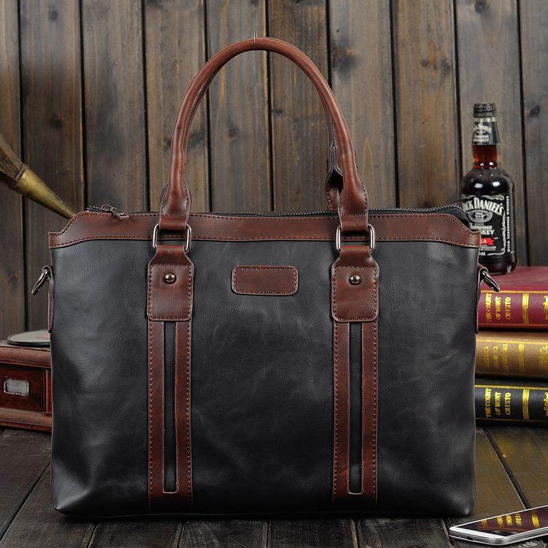 Korean Business Briefcase with Sling Straps Fashion Thick Leather Office Working Bag Laptop Attache Case for Men
