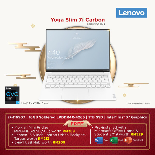 LENOVO YOGA SLIM 7 CARBON 13ITL5 82EV0029MJ S7 (I7-1165G7,16GB,1TB SSD,13.3 QHD,IRIS XE,WIN10) FREE BACKPACK + PRE-INSTALLED OFFICE H&S 2019 Malaysia