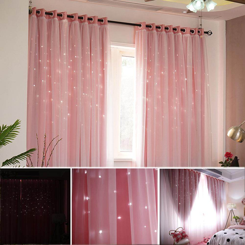 KEAJRYDouble-Layer Gauze Stars Curtains Hollowed Out Shading Starry Finished Products Simple Modern Bedroom Nordic Style Romantic Decorative Bay Window Curtain For Home Kitchen Living