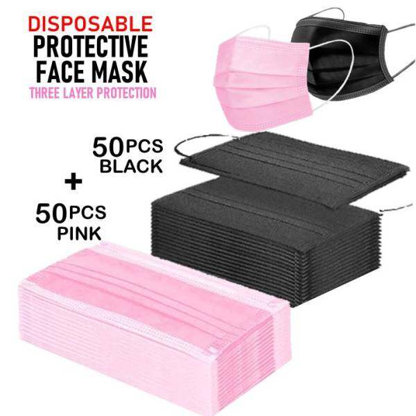 Disposable Face Mask Full Black 3 ply (100 pcs)  Pink 50 pcs + Black 50 pcs