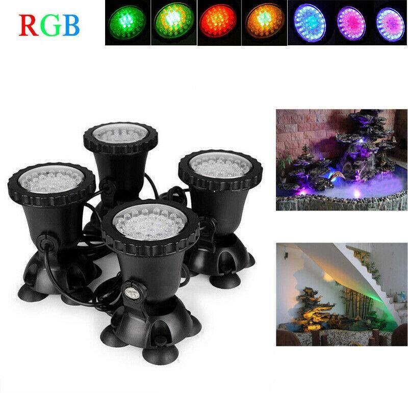 4pcs Underwater Spot Light Multicolor RGB 36 LED IP68 for Water Aquarium Garden Pond Fish Tank Lighting EU plug