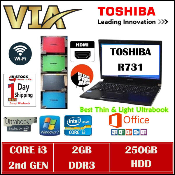 HDMI Toshiba UltraBook R731~CORE i3 (2nd GEN)~2GB DDR3~250GB HDD~13.3~Slim~Lightweight~Win7 Malaysia