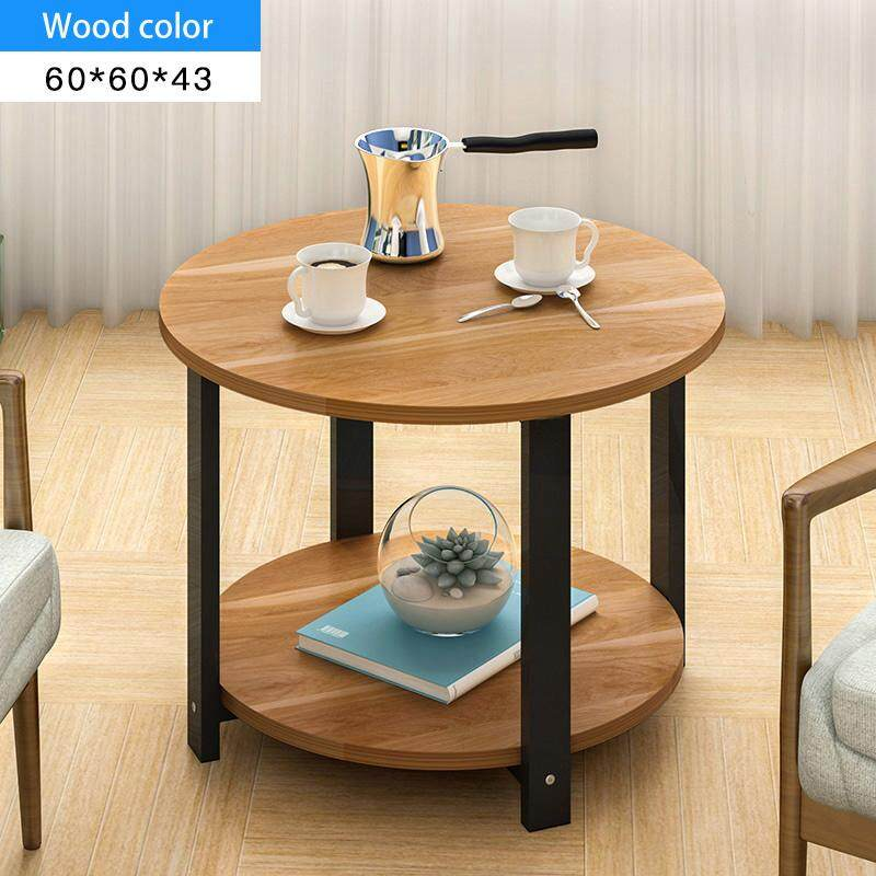 RuYiYu - 60X60X43cm, 2 Layer Round Coffee Table, Multi-color Optional, Black Metal Frame, Coffe Table