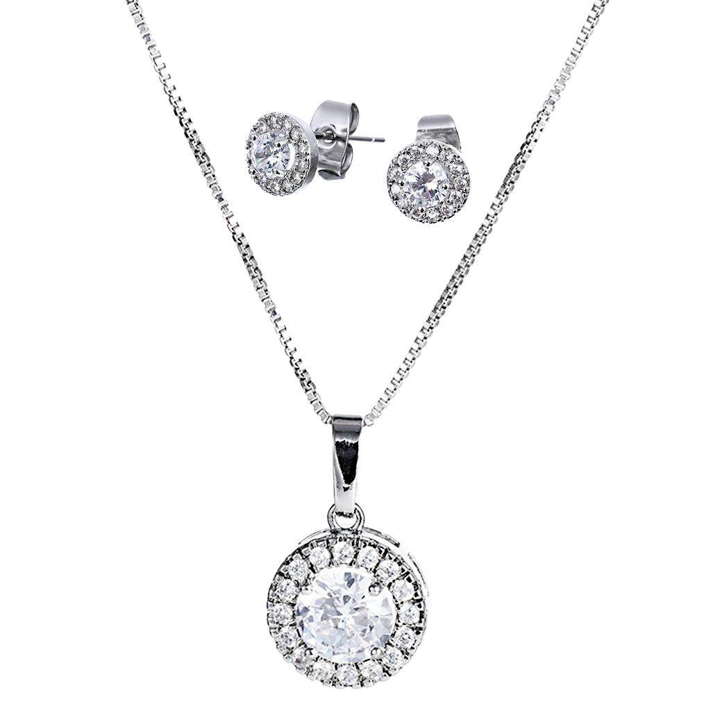 ee309bd2183b GuangquanStrade Cubic Zirconia Round Halo Necklace Earrings Wedding Jewelry  Set for Brides