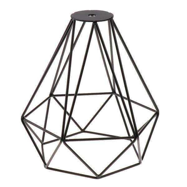 Perfk Vintage Metal Diamond Loft Pendant Ceiling Light Lamp Bulb Cage Red+Black