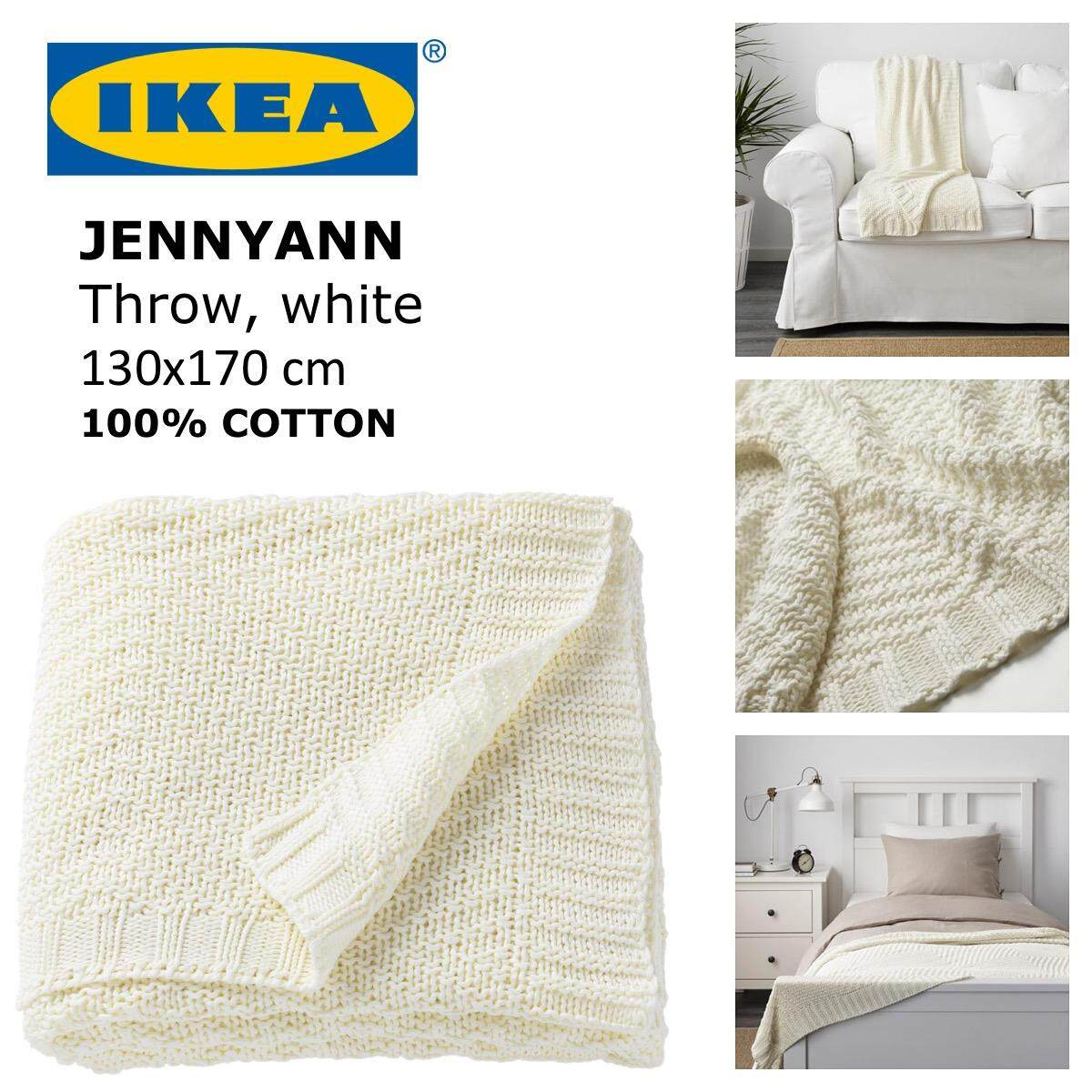 7a22077e4e43 IKEA JENNYANN White Knitted Soft Light Airy 100% Cotton Blanket Throw