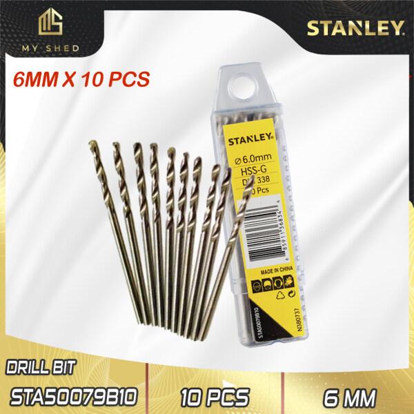 STANLEY STA50079B10 6MM HSS METAL DRILL BITS X 10PCS