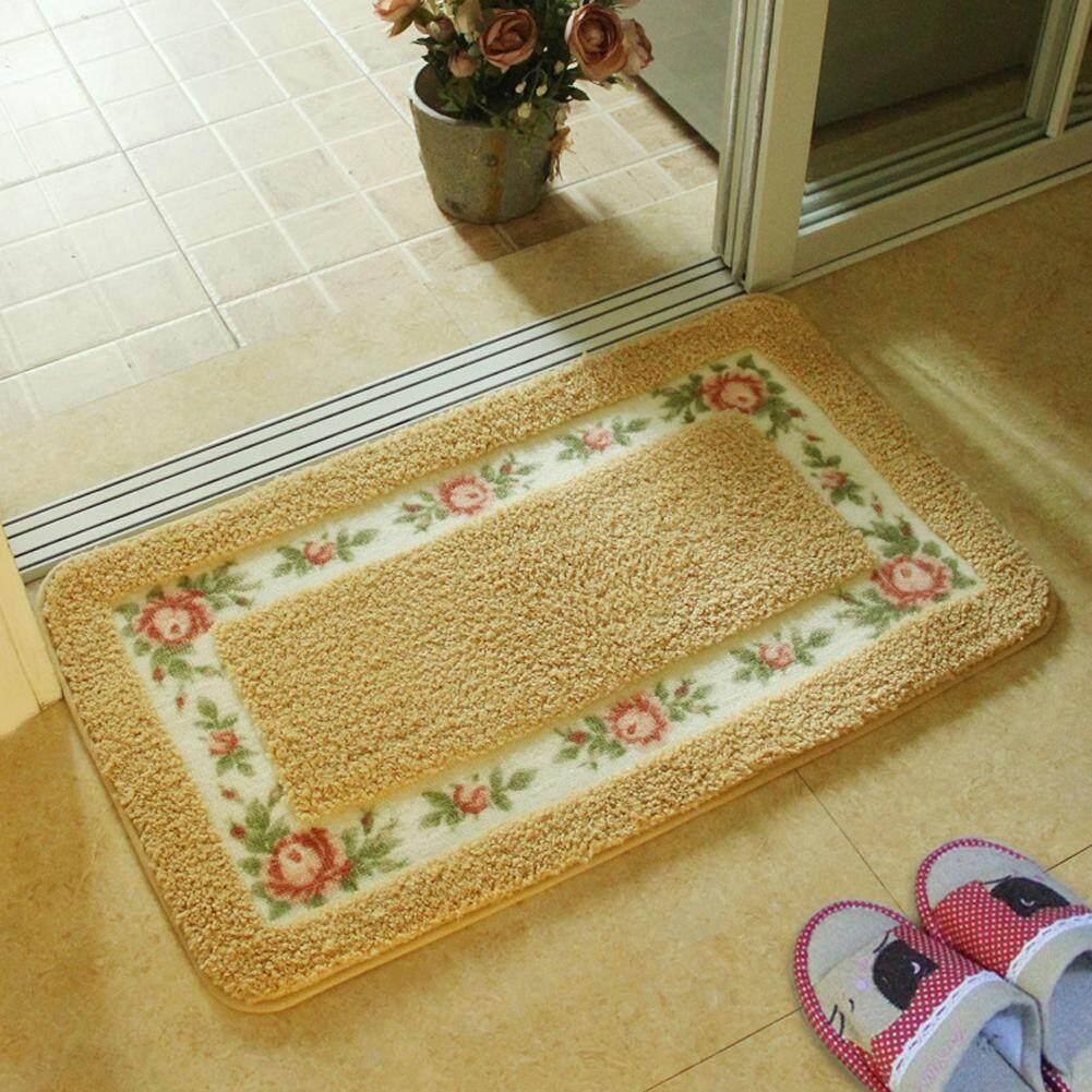 YANYI Rural style rose floor mat bathroom non-slip absorbent carpet bedroom door mat 40×60cm_gold