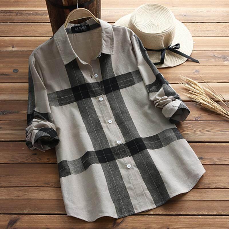 57914b89d82ea Gracila Women Check Plaid Long Sleeve Casual Loose Tops Shirt Blouse Plus  Size
