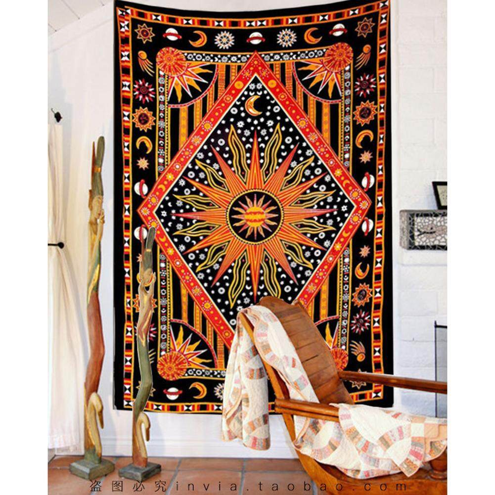 Indian Hippie Orange Black Ethnic Tribe Wall Hanging Tapestry Home Decor