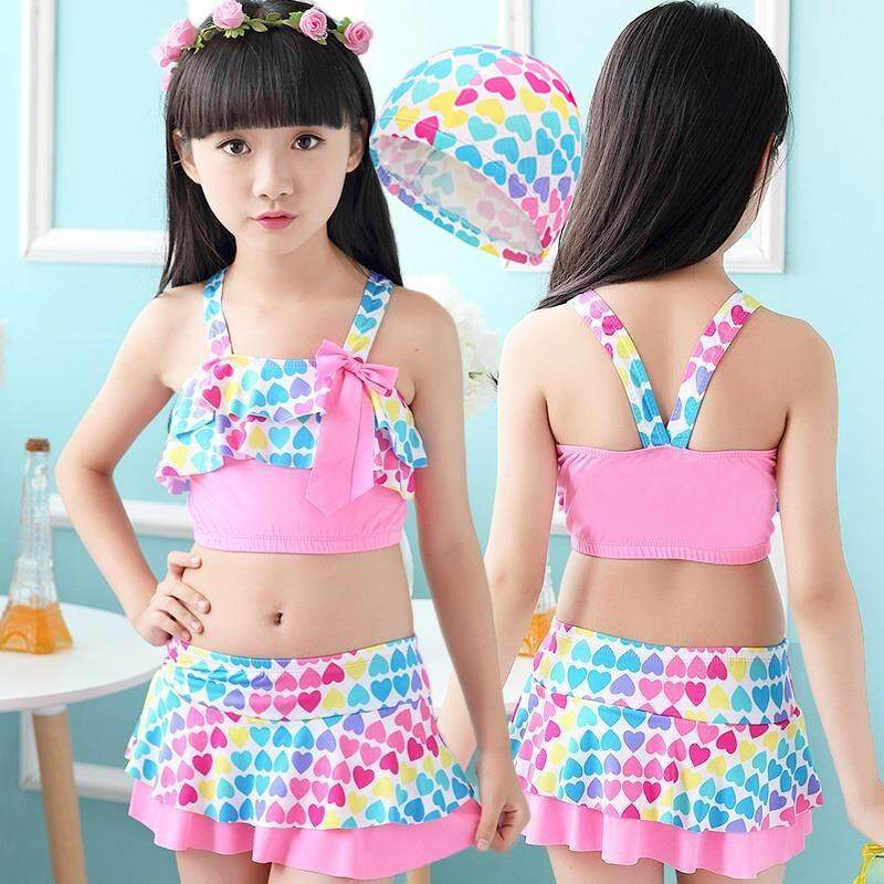 2105c590a2650 Children Swimwear Girls Cute Love Two Pieces Swim Suits Princess Girl  Swimsuit Kids Tankini Bathing Suits